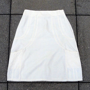 3/$65:Sarah Pacini coated linen ivory skirt, Italy